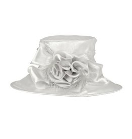 Something Special LA Medium Brim Crushable Satin Hat Silver