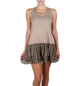 A'reve Tank Slip Dress Ruffle Bottom Cocoa