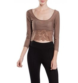 A'reve Sheer Crop Sleevy Lace Bottom Cocoa