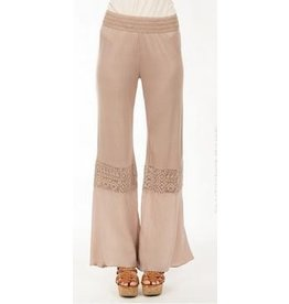 Monoreno Jersey Pants Crochet Detail Knees Dune