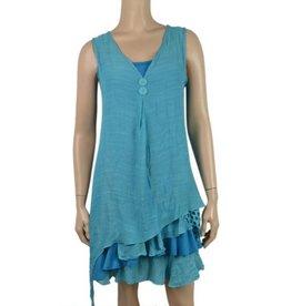 Pretty Angel Sleeveless Layered Bottom Dress 2pc Turquoise