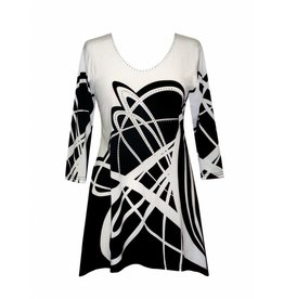 Valentina Signa 3/4 Sleeve Lycra Tunic Plus B&W Squiggles