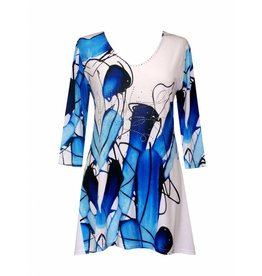Valentina Signa 3/4 Sleeve Lycra Tunic Royal & White Abstract