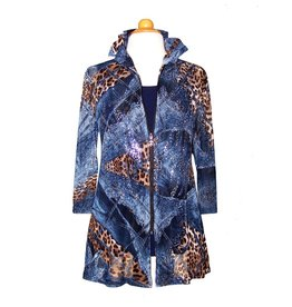 Valentina Signa Chiffon Jacket w/ Shapeable Collar Denim Cheetah