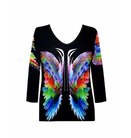 Valentina Signa 3/4 Sleeve Lycra Top Multi Color Butterfly