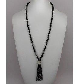 Golden Stella Glass Beads Tassel Necklace Black