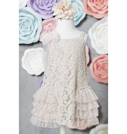 SassyBling Lace Tunic Side Ruffle Accent Taupe