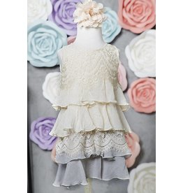 SassyBling Lace Mix Tiered Layer Ruffle Tunic Beige Grey