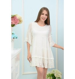 SassyBling Pleated Ruffle Tunic Lace Trim White