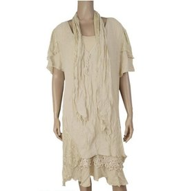 Pretty Angel 3 Pc Sleeveless Ruffle Bottom Dress w/ Scarf Cream