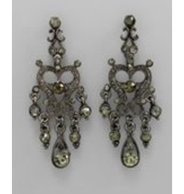 Golden Stella Metal Heart Chandelier Earrings Black Diamond/Hematite