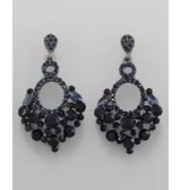 Golden Stella Cut out Crystal Oval & Cluster Earrings-Montana/Hematite