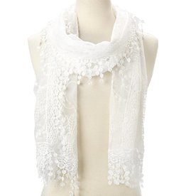 J & X Embroidered Lace Scarf White