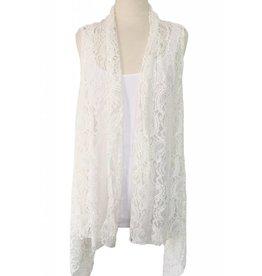 J & X Lace Vest White