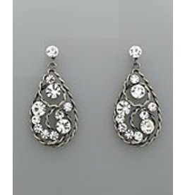 Golden Stella Teardrop Textured Wire & Crystal Dangle Earrings Clear/Burnt Silver