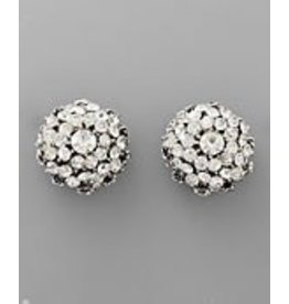 Golden Stella Flower Dome Paved Crystal Earrings Clear Silver