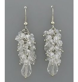 Golden Stella Crystal Cluster w/ Teardrop Dangle Earrings Clear