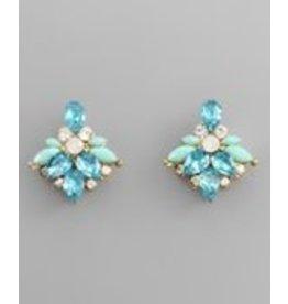 Golden Stella Teardrop Crystal Marquise Beaded Earrings Aqua Mint Gold