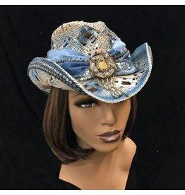 Whittall & Shon Denim/Straw Bling Cowboy Hat one-size