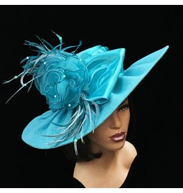 Whittall & Shon Big Brim Fabric Hat w/ Bow & Flowers Turquoise