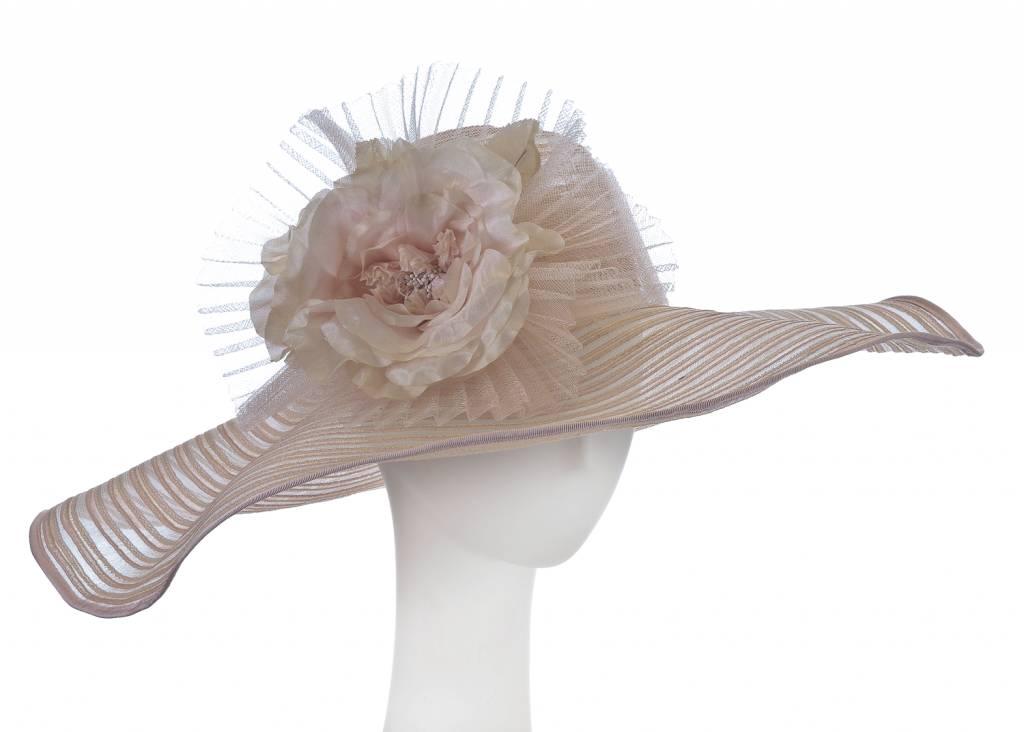F&M Hat Company/Giovannio Crin Wavy Brim w/ Stiff Flower Chalk Pink Beige