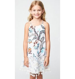 Hayden Los Angeles Lace Hem Floral Print Tank Dress Off White