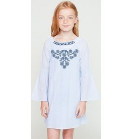 Hayden Los Angeles Bell Sleeve Embroidered Dress w/ Back Detail Sky Blue