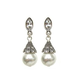 Sweet Romance Art Deco Vintage Pearl Wedding Earrings