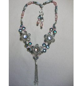Sharon B's Originals 3 Ant Silver Flowers w/Pink & Lavender Crystals Necklace & Earring Set
