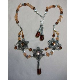 Sharon B's Originals 3 Ant Silver Flowers w/Light & Dark Amber Crystals Necklace & Earring Set