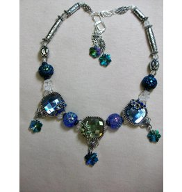 Sharon B's Originals 3 Ant Silver Square Slides w/Blue & Green Crystals Necklace & Earring Set