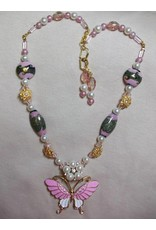 Sharon B's Originals Pink White Gold Pendant Lampwork Beads Necklace & Earring Set