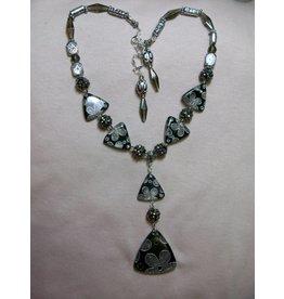 Sharon B's Originals Grey & Black Flower 6 Triangle Cloisonne Necklace & Earring Set