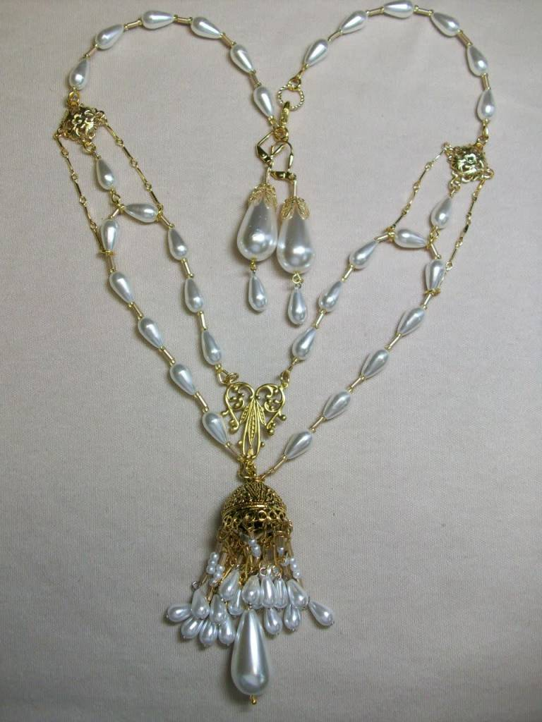 Sharon B's Originals Large Gold Cap 2 Strand Drop Pearls Tassel Necklace & Earring Set
