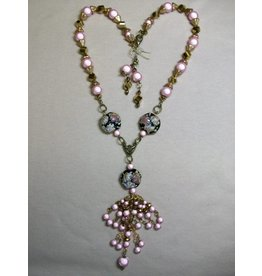 Sharon B's Originals Ant Gold w/Lampwork Pink Miracle Double Tassel Beaded Necklace & Earring Set