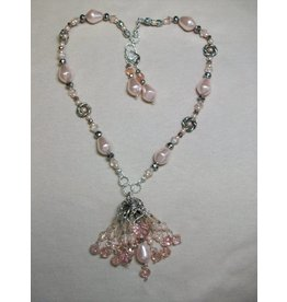 Sharon B's Originals Large Ant Silver Cap w/Pink Pearls Tassel Necklace & Earring Set