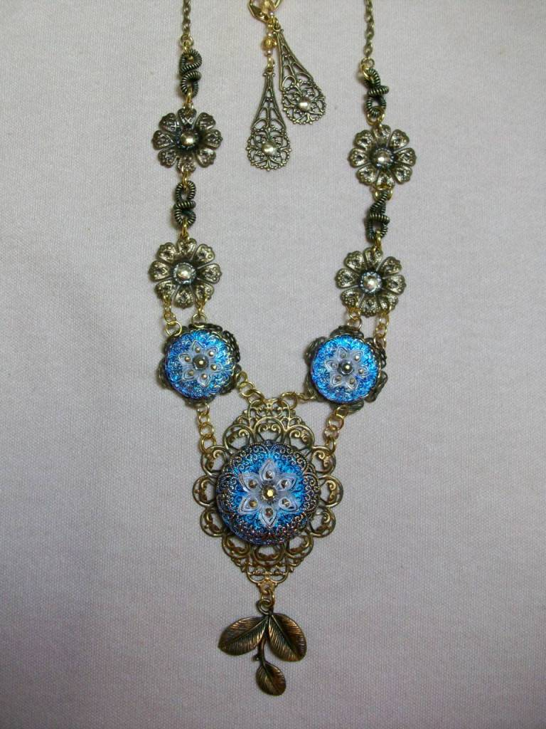 Sharon B's Originals 3 Blue & White Flower Czech Buttons Necklace & Earring Set