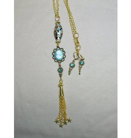 Sharon B's Originals Aqua Cameo w/Gold Lampwork Bead Necklace & Earring Set