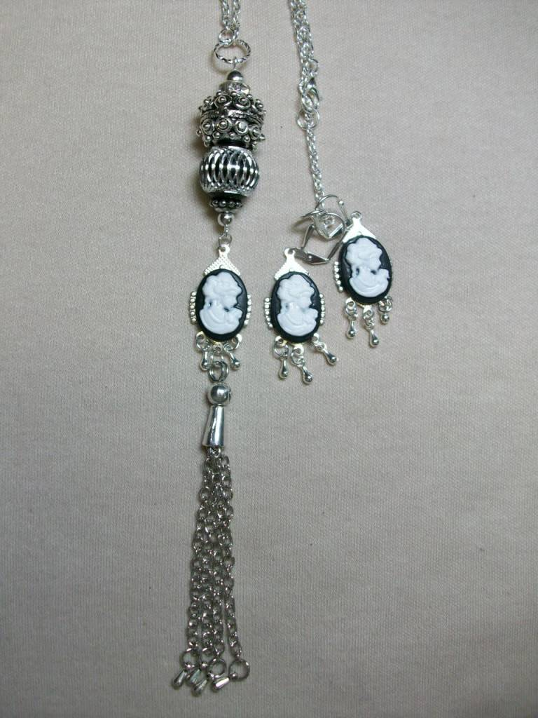 Sharon B's Originals 3 Black Cameo w/Silver Chain & Tassel Necklace & Earring Set
