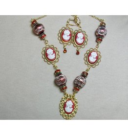 Sharon B's Originals 5 Red Cameos w/Gold Red Swirl Beads Necklace & Earring Set