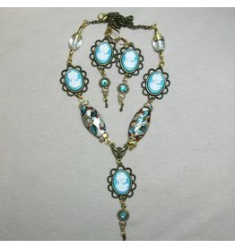 Sharon B's Originals 5 Aqua Cameos w/Ant Gold 2 Lampwork Beads Necklace & Earring Set