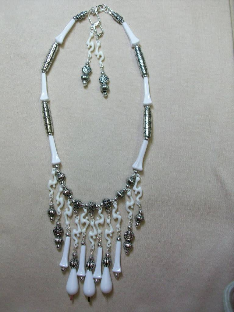 Sharon B's Originals Vintage White German Beads & Silver Necklace & Earring Set