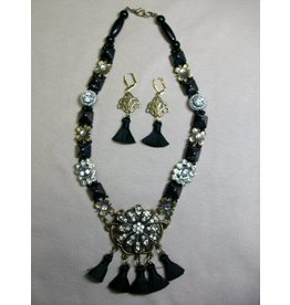 Sharon B's Originals Ant Gold w/Crystal Focal 2 Strand 7 Black Tassel Necklace & Earring Set