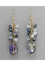 Golden Stella Faceted Oval Crystal w/Multi Round Crystal Dangle Blue/Gold