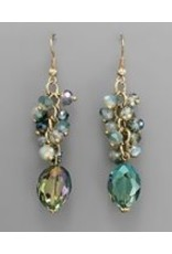 Golden Stella Faceted Oval Crystal w/Multi Round Crystal Dangle GreenBlue/Gold