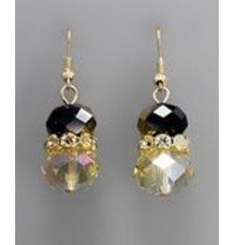 Golden Stella Crystal Cluster w/Teardrop Dangle Earring Dorado/Gold