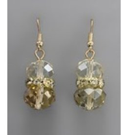 Golden Stella Crystal Cluster w/Teardrop Dangle Earring Topaz/Gold