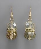 Golden Stella Crystal Cluster w/Teardrop Dangle Earring Topaz/Gold