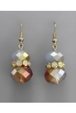 Golden Stella Crystal Cluster w/Teardrop Dangle Earring Blue Opal/Gold