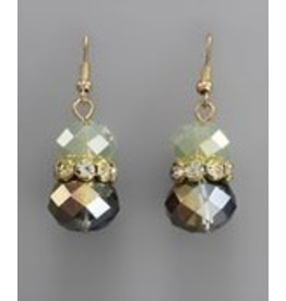 Golden Stella Crystal Cluster w/Teardrop Dangle Earring Opal/Gold